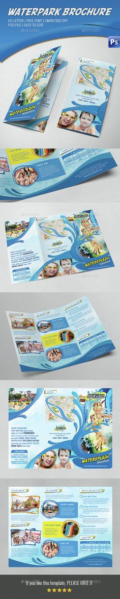 Breathtaking PSD Water Park Tri Fold Brochure Template • Only available here ➝ http://graphicriver.net/item/water-park-tri-fold-brochure/14529428?ref=pxcr