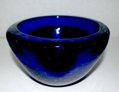 Murano bowl cobalt glass bubble bowl art glass by capecodgypsy