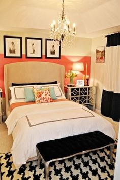 houndstooth rug, pretty coral wall, black and white details. love to do something similar like this in Haley's room <3