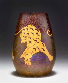 Zsolnay, Pécs, Eosin-Glaze Decorated Earthenware Vase.