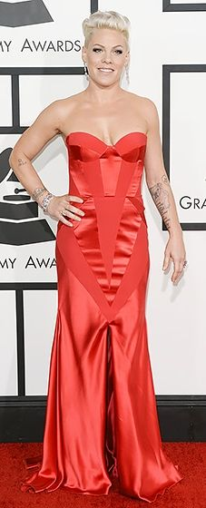 Pink rocking a red Johanna Johnson gown at the 2014 Grammy Awards