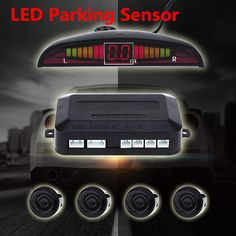 Universal LED Parking Sensor Kit Display Buzzing Sound Car Parking Assistance Reverse Backup Radar Monitor System 4 Sensors *** La oferta se puede encontrar haciendo clic en la imagen