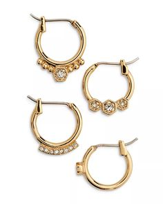 Luv Aj - Full Bloom Cubic Zirconia Mismatch Hoop Earrings, Set of 4