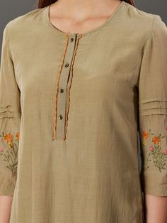 5251e2de2e Buy Olive Green Embroidered Cotton Silk Kurta with Flared Palazzo - Set of  2 online at. The loom international