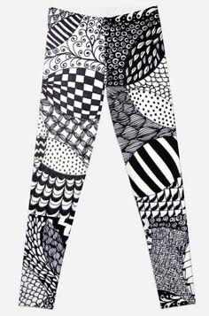 'Zentangle Print' Leggings by Bithys Online Awesome Leggings, Best Leggings, Christmas Shopping, Printed Leggings, Hoodies, Sweatshirts, Artwork Prints, Knitted Fabric, Zentangle