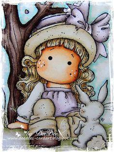 Copics:  Haut/Skin: E13 - E11 - E00 - E000  Wangen/Cheeks: E93  Hut & Hose/Hat & trousers: E43 - E42 - E41 - E40  Schleife/Bow: V95 - V93 - V91 - V000  Bluse/Blouse: W3 - W1 - W0 - V95 - V93 - V91 - V000  Baum & Schuhe/Tree & Shoes: E79 - E77 - E74 - E71  Haare/Hair: E55 - E33 - E31 - E30  Hase/Bunny: W5 - W3 - W1 - W0  Hintergrund/Background: YG93 - B00 - B000 - W3 - W1 - W0 - Blender 0
