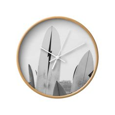 Hang Ten Wall Clock in Natural White//