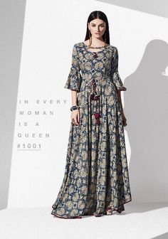 Blossom Ready made Printed Kurti Stylish Dress Designs, Stylish Dresses, Fashion Dresses, Kurta Designs Women, Blouse Designs, Indian Designer Outfits, Designer Dresses, Pop Art Fashion, Mode Simple