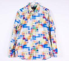 Jhane Barnes Mens Sz M Tapered Fit White Multi Color LS Button Front Club Shirt #JhaneBarnes #ButtonFront