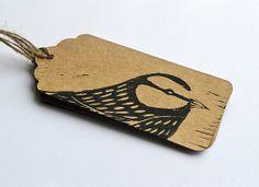 Linocut Hand Printed Owl Bird Gift Tags - Set of 3 Stencil, Stamp Carving, Linoprint, Tampons, Linocut Prints, Woodblock Print, Paper Goods, Printmaking, Gift Tags