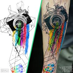 My custom photography design (for Ryan) tattooed by Dres X (37 Tattoo, Lima, Peru) - another stunning job!