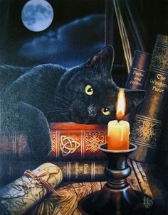 Black Cat Greeting Card by Lisa Parker - Witching Hour Triquetra Black Cat Kitty Magick card - Free Shipping USA