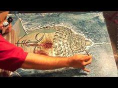 jpg design inspiration Close to batik process, that first imagined Buddha Painting, Buddha Art, Stencil Painting, Painting Canvas, Canvas Art, Acrylic Painting Tutorials, Acrylic Art, Namaste, Collage