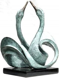 #Bronze #sculpture by #sculptor Gill Brown titled: 'Swanlake (Small Bronze Semi abstract Mating Swans statuettes/sculpture)'. #GillBrown