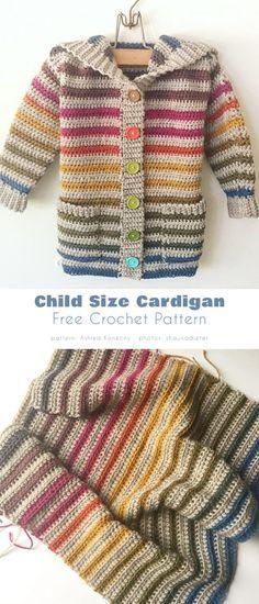 Crochet Toddler Sweater, Crochet Baby Cardigan Free Pattern, Cardigan Bebe, Crochet Baby Sweaters, Baby Sweater Patterns, Crochet Hoodie, Crochet Cardigan Pattern, Crochet Girls, Crochet Baby Clothes