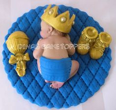 Boy Prince Baby Shower First Birthday Gold by DinasCakeToppers