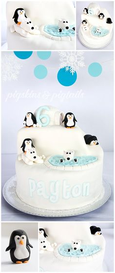 Polar Bears & Penguins winter pool party theme birthday cake from Pigskins & Pigtails Birthday Cakes Girls Kids, Cool Birthday Cakes, Boy Birthday Parties, Birthday Ideas, Birthday Table, Birthday Celebrations, Penguin Birthday, Penguin Party, Polar Bear Party