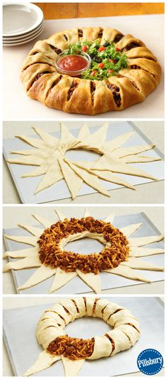 Crescent Ring Impress your guest on Game Day with this Crescent Taco Ring! It's a fun new twist on a classic that everyone will eat up. Add fresh lettuce and salsa to make it complete.Salsa Salsa usually refers to: Salsa or SALSA may also refer to: Mexican Dishes, Mexican Food Recipes, Beef Recipes, Cooking Recipes, Dip Recipes, Recipies, Cooking Bacon, Cheese Recipes, Appetizer Recipes