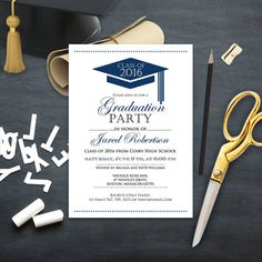 Graduation Announcement Boy Printable template Navy High School Graduation Invitation instant download - Сollege Graduation Party Invitation