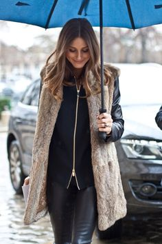 Olivia Palermo wearing a long fur gilet winter fall casual fashion and short blunt hair Casual Winter Outfits, Style Olivia Palermo, Fur Vest Outfits, Look Fashion, Womens Fashion, Fashion Beauty, Street Fashion, Fashion Models, Winter Stil