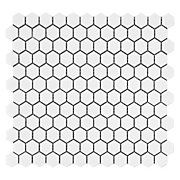 White Hexagon Porcelain Mosaic $3.49/pc, 12 in x 12 in