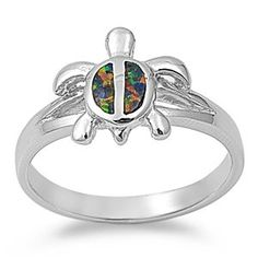 Sterling Silver Black Lab Opal Kemps Sea Turtle Ring (Size 5 - 9) $22.73