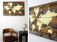 Como fazer quadro com mapa mundi de palletes de madeira | UMA CASA IGUAL A SUA