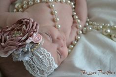 "Beautifully handmade baby girl headband. Perfect for your new little sweetie and for new priceless newborn photo shoot. Help her say ""HELLO WORLD!!"" This would also be perfect for the photographer looking for a one of a kind headband! Available in newborn, infant, toddler, children's, and adult s..."
