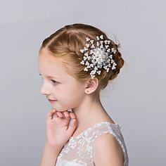 Flower+Girl's+Imitation+Pearl+Headpiece-Wedding+Special+Occasion+Casual+Outdoor+Hair+Combs+1+Piece+–+USD+$+11.99