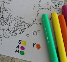 A great way to practice letter recognition and learn the alphabet! All you need is a coloring book,