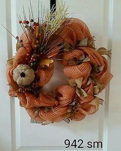 Autumn fall Deco Mesh burlap  Wreath orange brown gold berries pumpkin #942