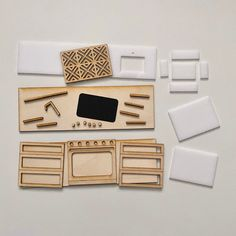 Diy Dollhouse Furniture Easy, Ikea Dollhouse, Doll Furniture, Doll House Plans, Shaker Kitchen, Easy Craft Projects, Cardboard Crafts, White Paneling, Barbie