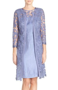 Adrianna Papell Embroidered Lace Illusion Yoke Sheath Dress & Topper available at #Nordstrom