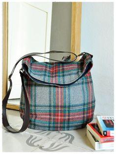 Scottish tweed messenger bag