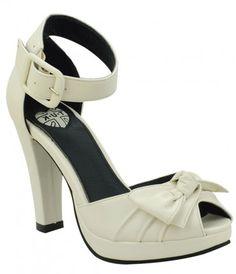 #Pinup perfect cream peep toe heels #uniquevintage