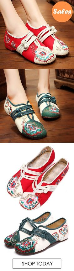 Chinese Embroidered Flower Mary Janes Buckle Casual Flat Loafers. #fashion #shoes #flats