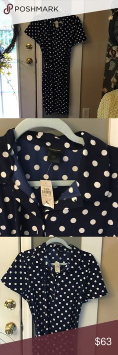NWT, Ann Taylor Navy & White Dot Dress Brand new, never worn, all polyester material, navy and white color with dots, about 38 inches in length. Three neck button with collar. Ties in back. Short sleeve Ann Taylor Dresses