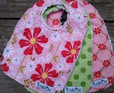 Boutique Baby Bibs - SWEET DIVINITY, pink, green, daisies, girls bib set, Riley…