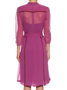 Click here to buy Bottega Veneta Ric-rac trimmed silk midi dress at MATCHESFASHION.COM