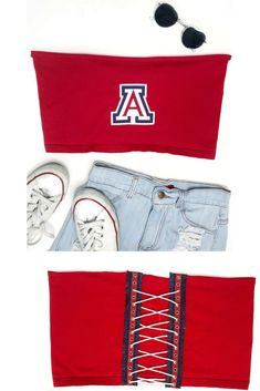 6d4ab411445 Arizona Lace Up Tube Top. College Football ...