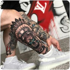 Beautiful Tattoos by Artist Vladimir Drozdov . Tag your friends 🙏❤ Share Us To Your Friends . Full Leg Tattoos, Love Tattoos, Beautiful Tattoos, Body Art Tattoos, Tattoos For Guys, Girl Tattoos, Calve Tattoo, Calf Tattoo Men, Mens Leg Tattoo