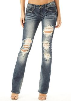 Machine Jeans Dark Destructed Bootcut Jean - View All Jeans - Jeans - Clothing - Alloy Apparel