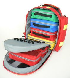 Emergency Rucksack 27171 supplied with 6 colored pouches with transparent window and velcro strips, 2 frontal pockets and 2 lateral pockets. Internal velcro strips and elastic, to retain instruments. Central division with zip and elastics. Provided with yellow refractive strips. €139 #bag #emergency_rucksack