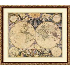 Amanti Art New World Map, 1676 by Pieter Goos Framed Wall Art
