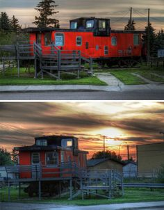 Old tain cars turned into tiny houses