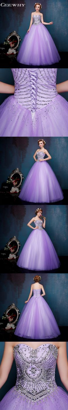 Tulle Strapless Ball Gown Wedding Party Dress Floor-Length Vintage Quinceanera Dresses 2017 Corset Sweet 16 Dresses Crystal
