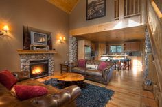 Great Room...How I envision our huge log cabin home...if it ever happens.