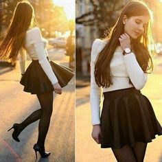 Girly outfits, skirt outfits, casual outfits, cute outfits, fashion out Girly Outfits, Mode Outfits, Skirt Outfits, Fall Outfits, Casual Outfits, White Outfits, White Fashion, Girl Fashion, Fashion Dresses