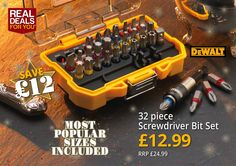 Dewalt 32 piece Screwdriver Bit Set http://www.tradingdepot.co.uk/DEF/product/!!XMS14BITSET!!/