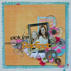 Good use of different materials...  Picture Perfect - Scrapbook.com    cute framing